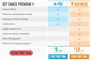 emaze premium- pro and business comparison table
